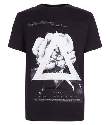 Black Rose And Triangle Graphic Tee New Look