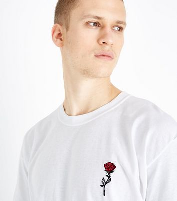 White Embroidered Rose T-Shirt New Look