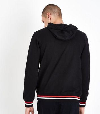 Black Stripe Hem Hooded Sweatshirt New Look