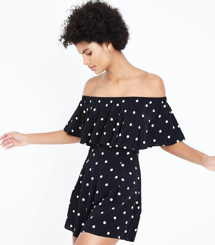 502254678ce Black Polka Dot Bardot Neck Playsuit