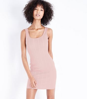 Pink Ribbed Bodycon Dress New Look