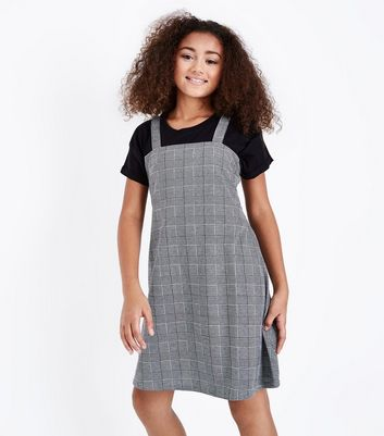 Teens Grey Prince of Wales Check Pinafore Dress New Look
