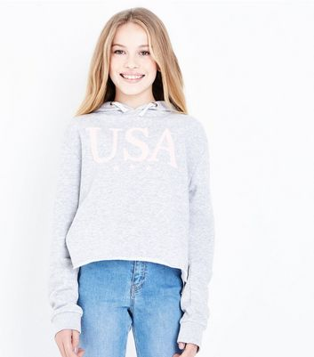 Teens Grey USA Slogan Front Hoodie New Look