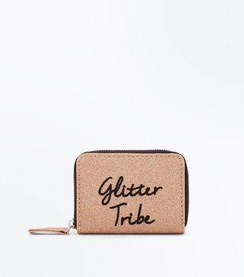 Rose Gold Glitter Tribe Slogan Cardholder New Look