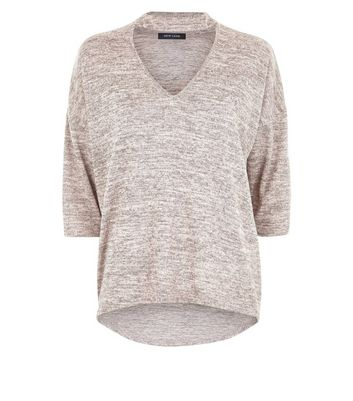 Camel Brushed Fine Knit Choker Neck Top New Look