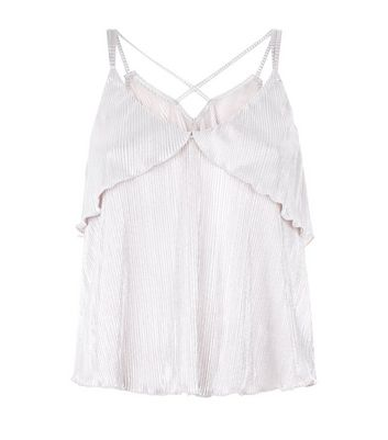 Cameo Rose Gold Cross Strap Back Plisse Cami New Look