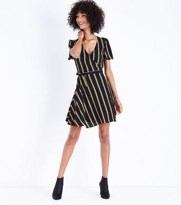 Black Stripe Wrap Front Dress New Look