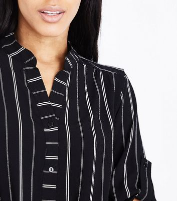 Cameo Rose Black Stripe Grandad Collar Shirt New Look