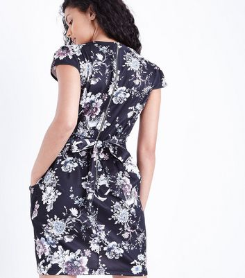 Blue Vanilla Black Floral Print Tulip Dress New Look