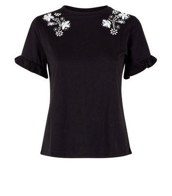 Black Beaded Frill Sleeve T-Shirt New Look