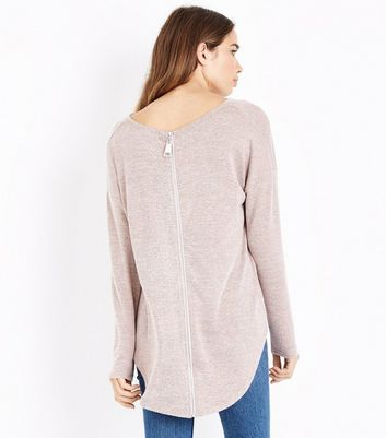 Blue Vanilla Pink Zip Back Long Sleeve Top New Look
