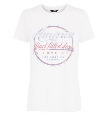 Cream America Gem Studded T-Shirt New Look