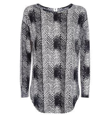 Blue Vanilla Black Zebra Print Zip Back Top New Look
