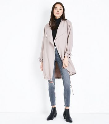 Pale Pink Waterfall Duster Jacket New Look
