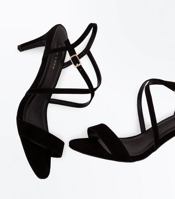 Black Suedette Strappy Kitten Heel Sandals New Look
