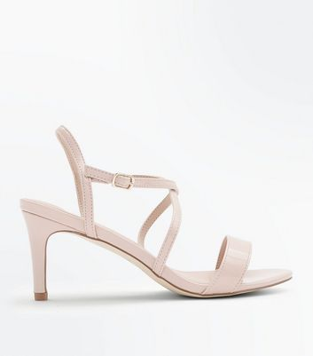 Nude Patent Strappy Kitten Heel Sandals New Look