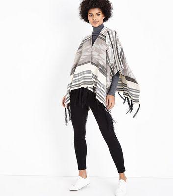 Mela Grey Stripe Pattern Shawl New Look