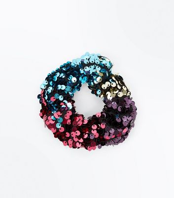 Multi-Coloured Sequin Scrunchie New Look