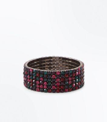 Pewter Mutli-Coloured Gem Stretch Bracelet New Look