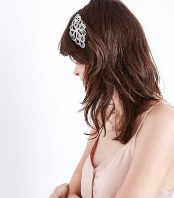 Silver Crystal Embellished Hair Comb New Look