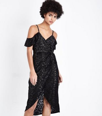 Black Metallic Baroque Cold Shoulder Wrap Dress New Look