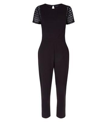 Black Lace Panel Short Sleeve Jumpsuit New Look