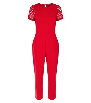 Red Lace Panel Jumpsuit New Look
