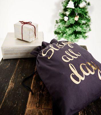 Navy Sleigh All Day Christmas Present Sack New Look