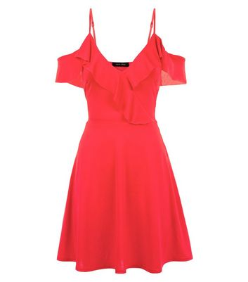 Red Frill Frim Cold Shoulder Wrap Front Dress New Look