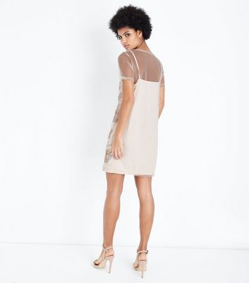 Shell Pink Sequin Embroidered Mesh Tunic Dress New Look