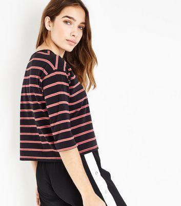 Black Stripe 1/2 Sleeve T-Shirt New Look
