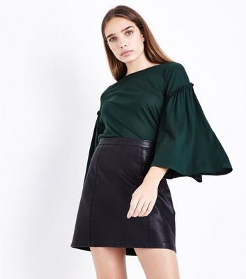 Green Frill Flared Sleeve T-Shirt New Look