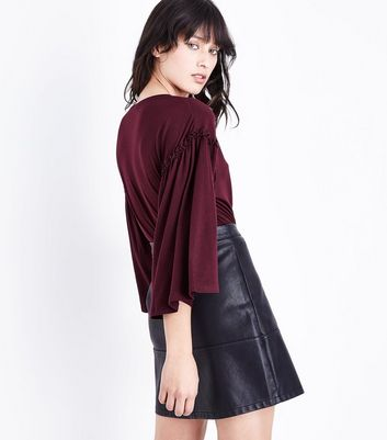 Burgundy Frill Flared Sleeve T-Shirt New Look