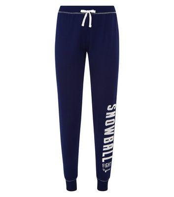 Dark Blue Pom Pom Snowball Slogan Print Pyjama Joggers New Look