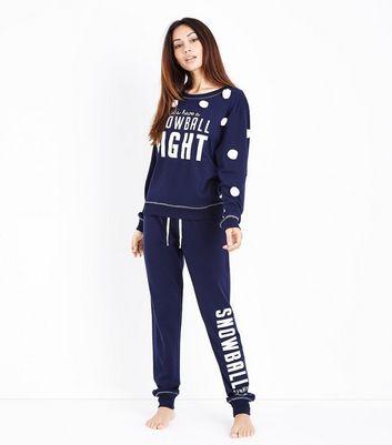 Dark Blue Pom Pom Snowball Fight Slogan Sweatshirt New Look