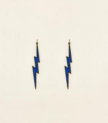 Blue Diamante Lightning Bolt Earrings New Look