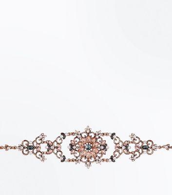 Rose Gold Gem Embellished Floral Choker New Look