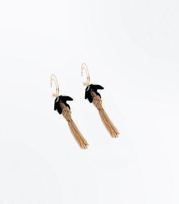 Gold Petal Tassel Drop Earrings New Look