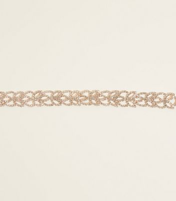 Rose Gold Diamanté Leaf Bracelet