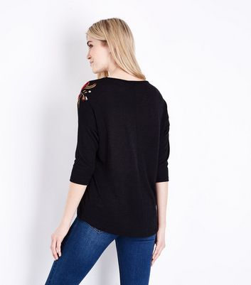 Black Embroidered 3/4 Sleeve Fine Knit Top New Look