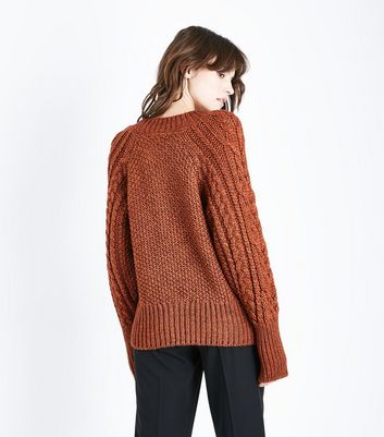Rust Italian Yarn Cable Knit Raglan Jumper New Look