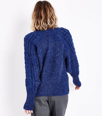 Blue Italian Yarn Cable Knit Raglan Jumper New Look