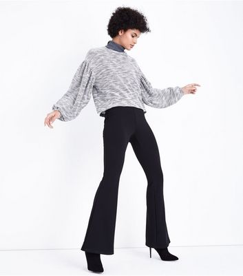 Black Marl Balloon Sleeve Fine Knit Jumper New Look