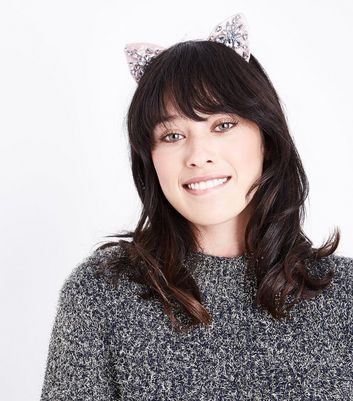 Shell Pink Gem Embellished Cat Ears New Look