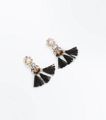 Silver Crystal Pearl And Tassel Earrings New Look
