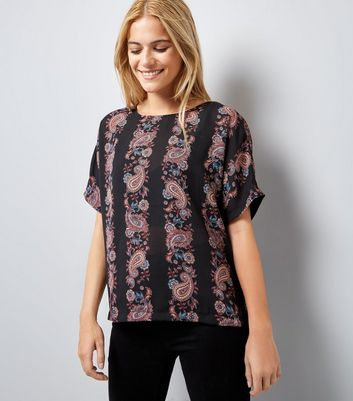 Apricot Red Paisley Stripe Top New Look