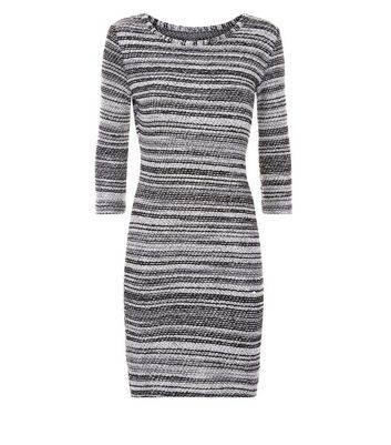 Apricot Dark Grey Boucle Stripe Tunic Dress New Look