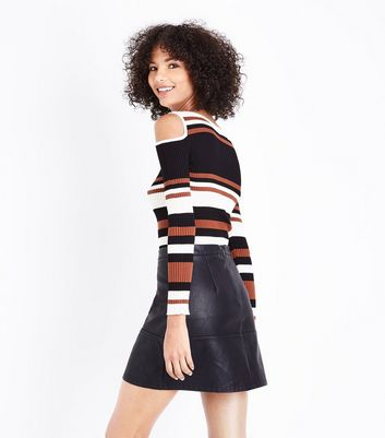 Apricot Rust Stripe Cold Shoulder Top New Look