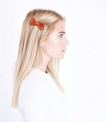 3 Pack Orange Bow Clips New Look