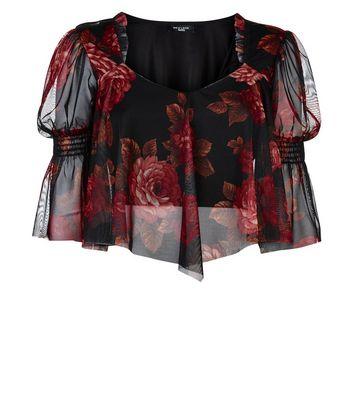 Petite Black Floral Mesh Hanky Hem Top New Look